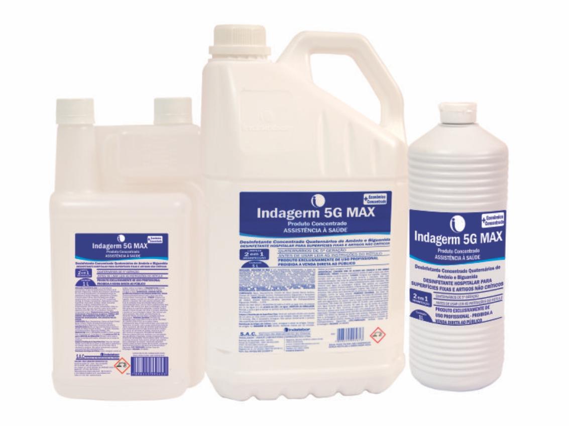 Indagerm 5G MAX - Desinfetante Concentrado Quaternários de Amônio e Biguanida
